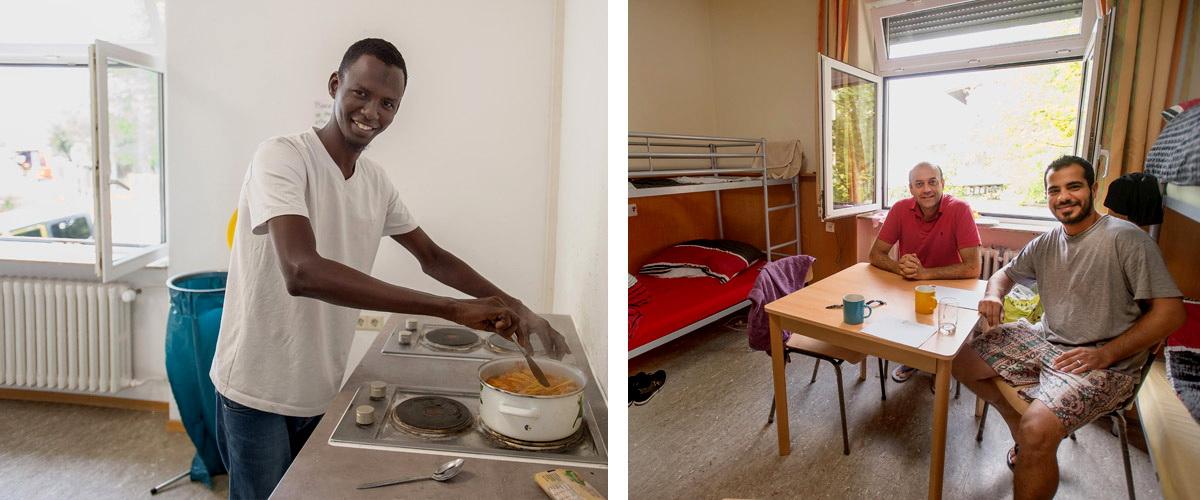 Pressefotografie Flüchtlinge Kochen- Teetrinken und warten